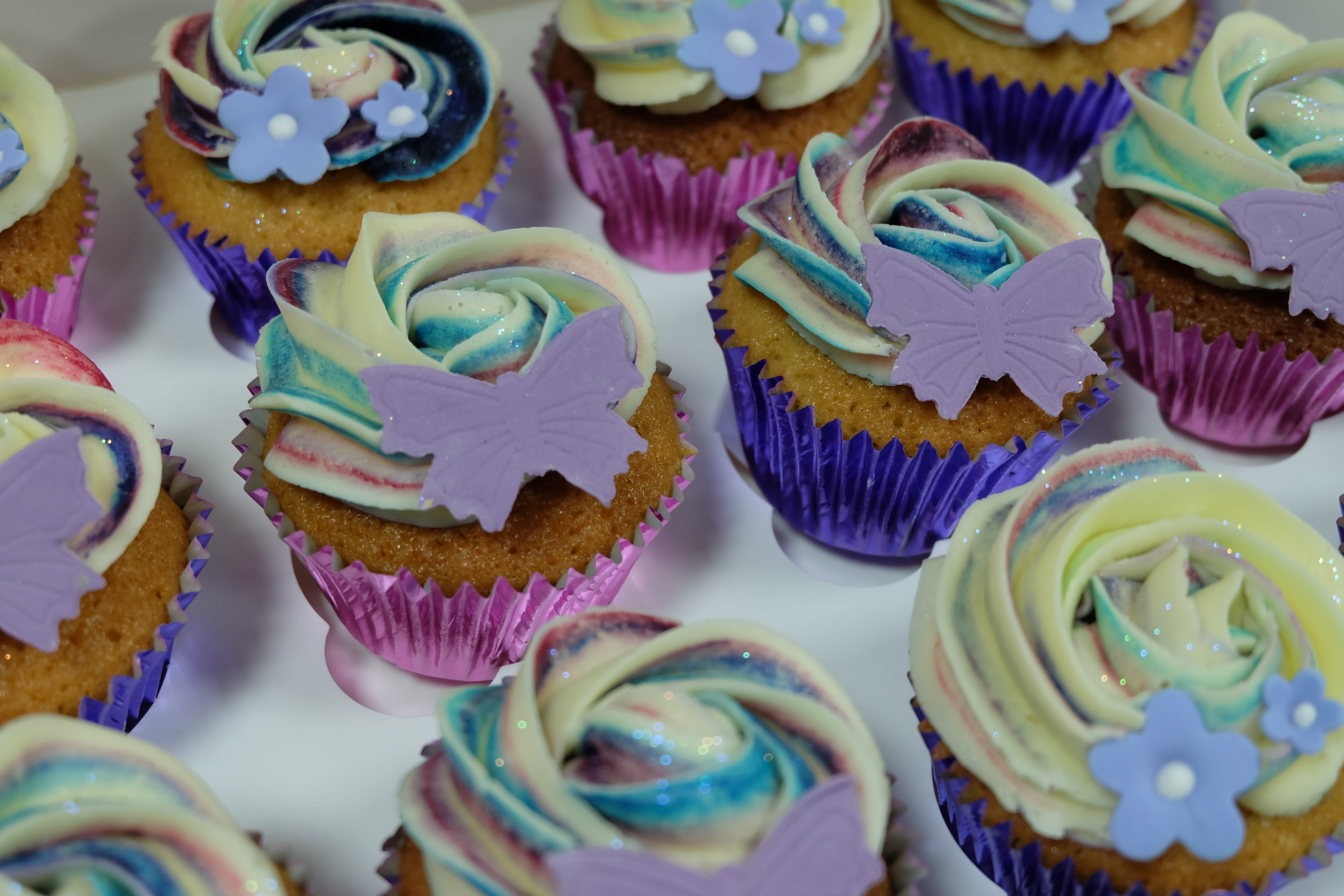 Pink and Purple, Butterfly and Flower Cupcakes