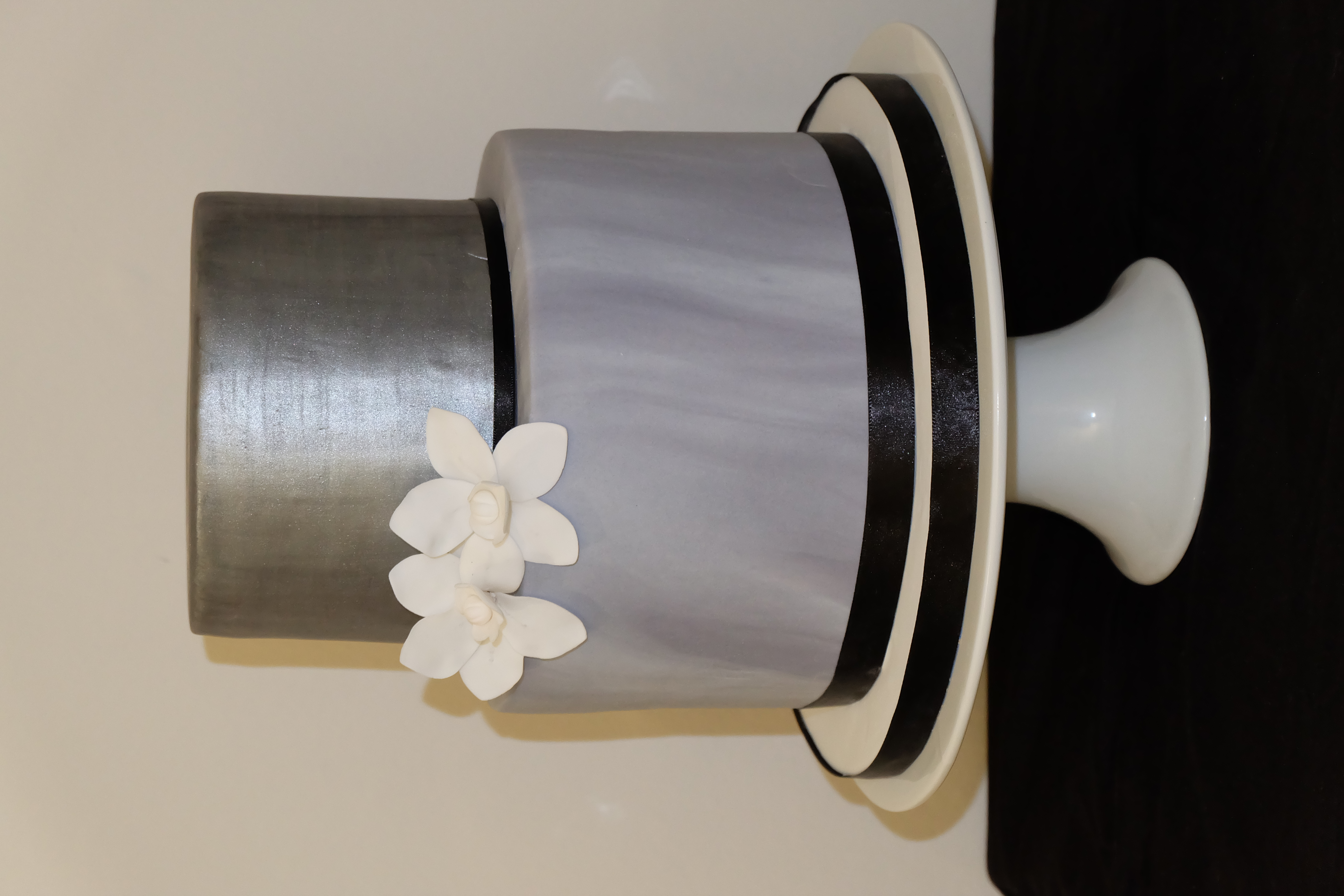 2 Tier Wedding Cake with Marble Effect, Silver and Sugar Orchids
