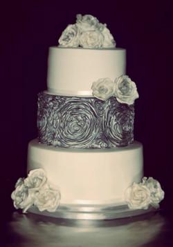 Silver Ruffles & Roses Wedding Cake