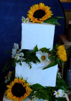 Fresh Flowers Summer Wedding Cake