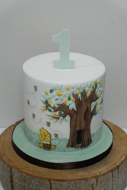 Winnie the Pooh First Birthday Cake  2