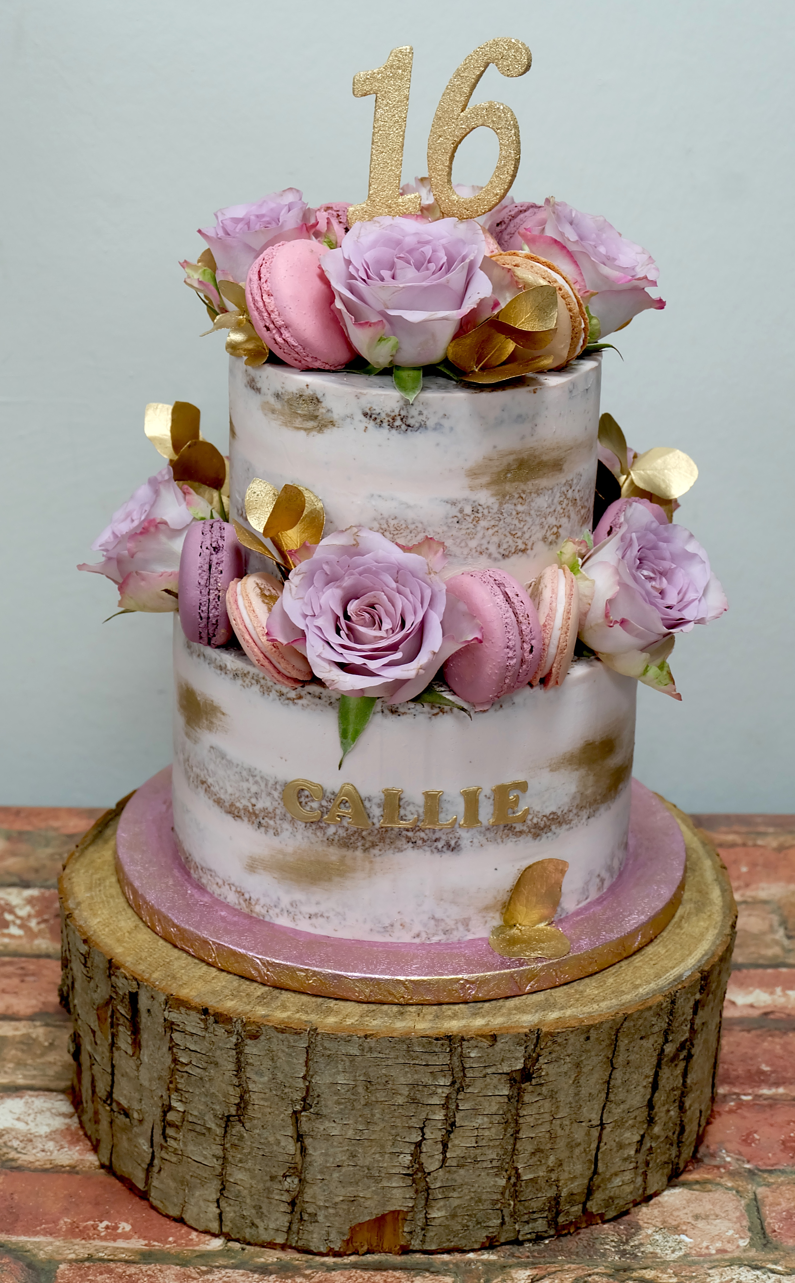 Semi Naked Cake with Macarons, Roses and Gold Detail