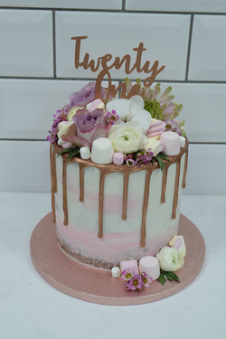 Marshmallow, Flowers Rose Gold Drip Cake