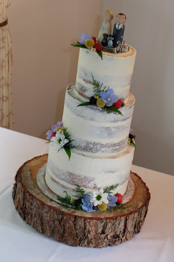 Semi-Naked Wedding Cake with Flowers and