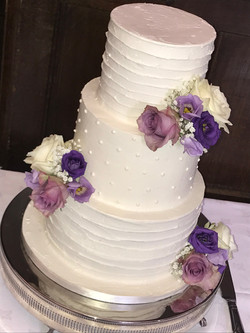Buttercream Stripes and Dots with Fresh Flowers 2