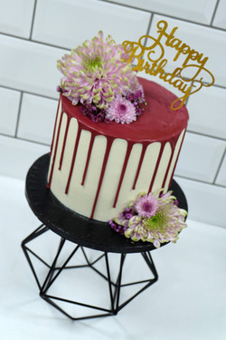 Fresh Flower Pink Drip Cake