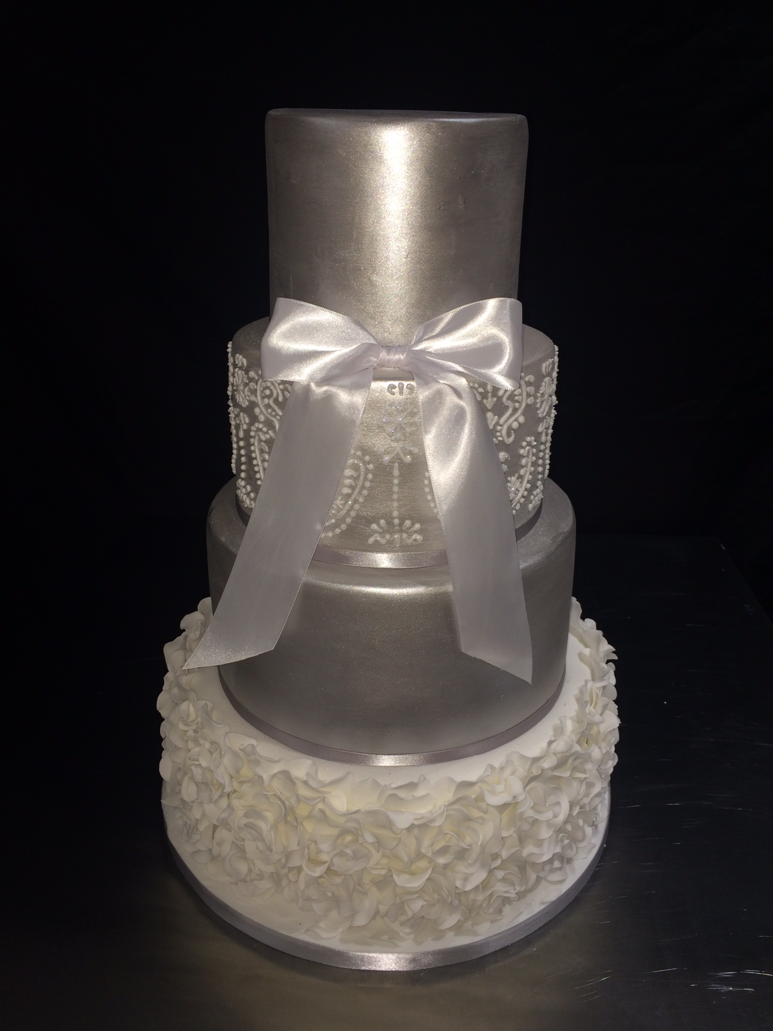 Silver Ruffles & Piped Wedding Cake