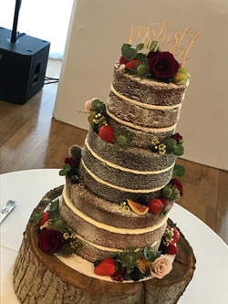 3 Tier Naked Wedding Cake with Fruits an