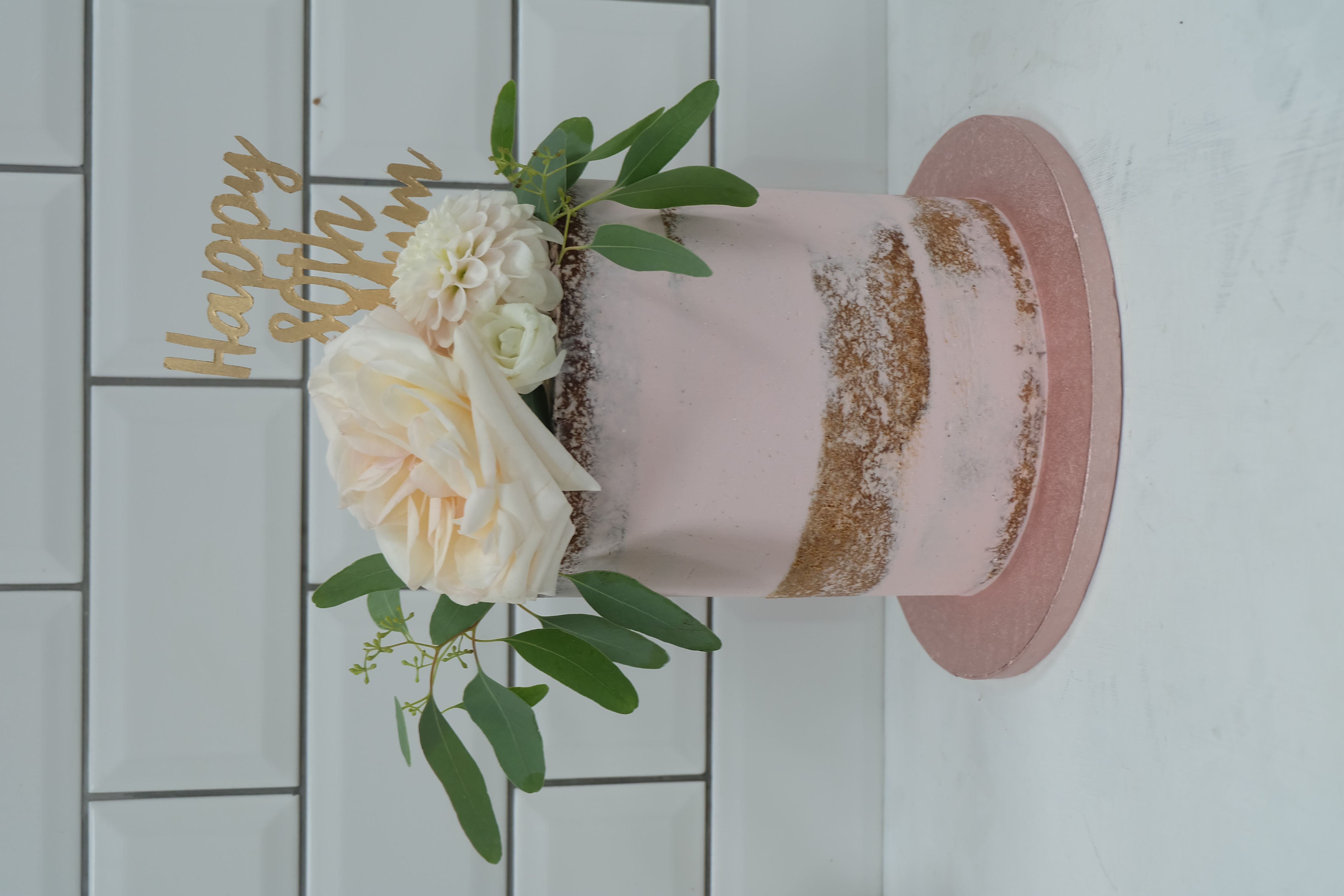 Semi Naked Pink Cake with Flowers and To