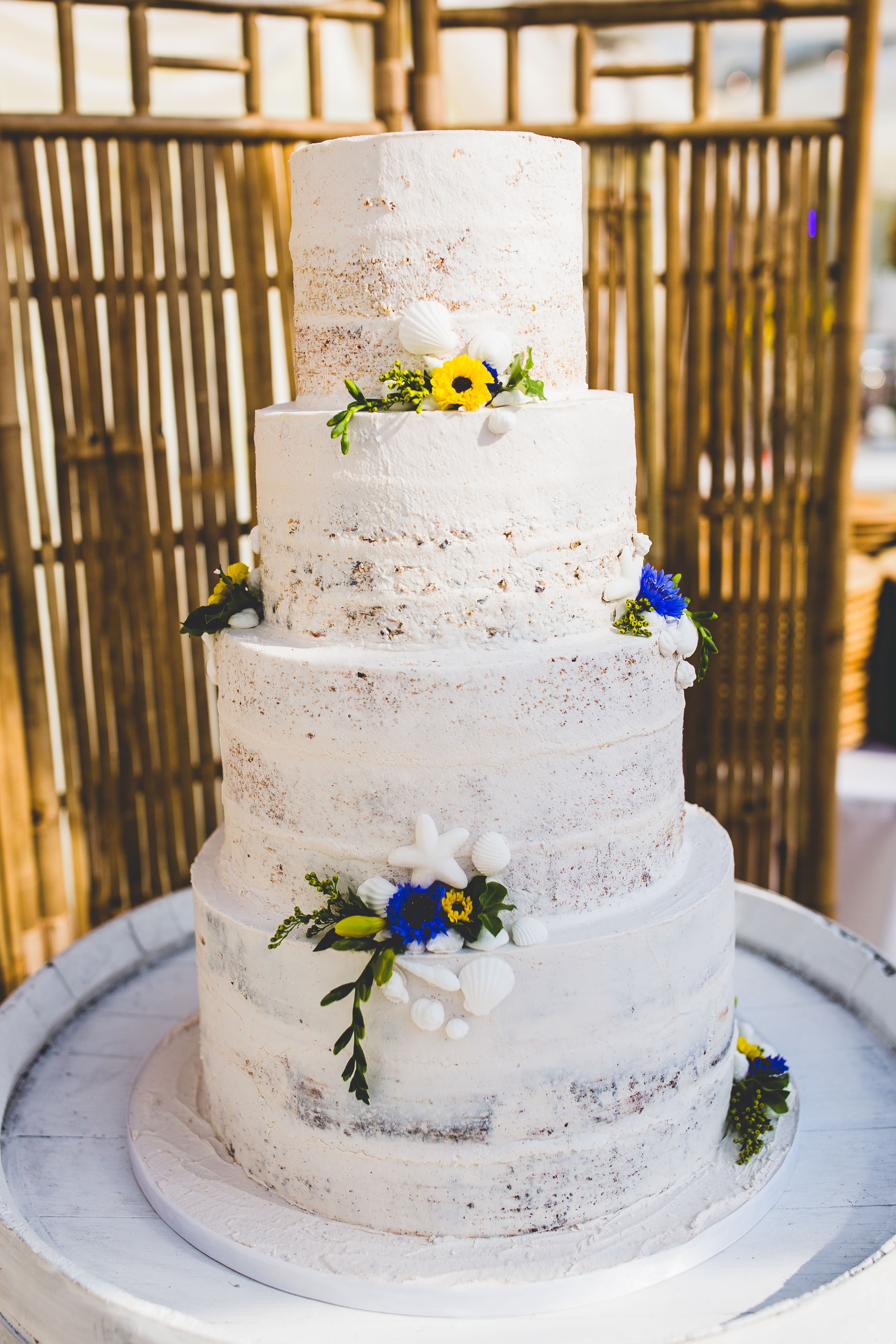 Vegan 4 Tier Beach Themed Wedding Cake