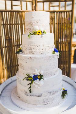 Vegan 4 Tier Beach Themed Wedding Cake