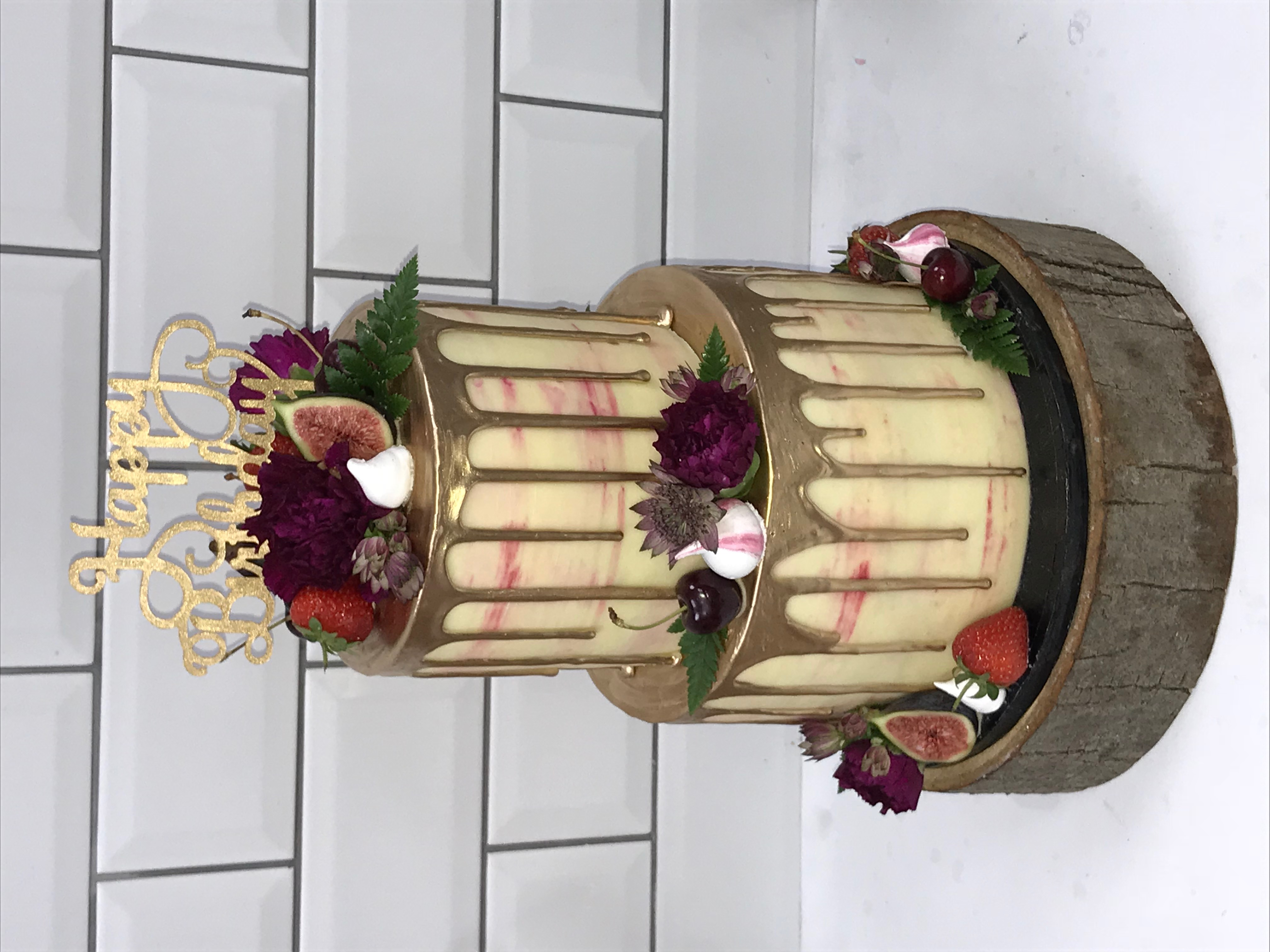 2 Tier Pink Watercolour Buttercream Cake
