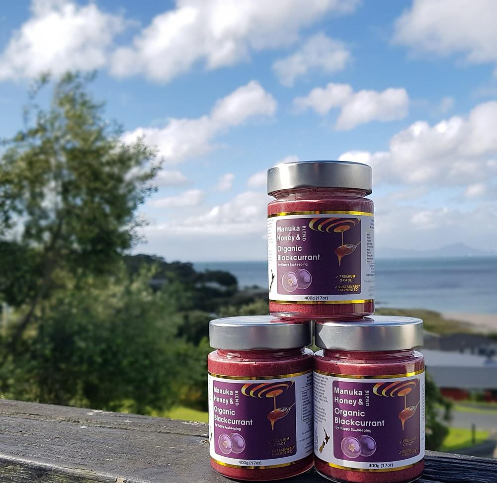 Three Jars of HBK limited's NZ Manuka Honey with Organic Blackcurrant