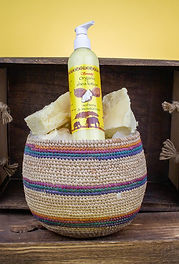 Serenity Shea Lotion in a basket.