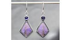 Tammy Helart-Jeweler, Silversmith, Earrings, Turkish Jade, Amethyst-silver HoopAmethyst Silver Hoop Earrings