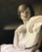 "Susan Helen Strok art, sepia oil painting, ""Pearl Necklace"""