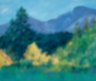 landscape oil painting, mountains, trees, lake, reflections