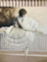 Oil painting of ballerina sitting, Porch Rail with Ballerina, Sepia Oil Painting, transparent ballet skirt