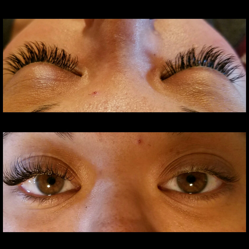 Before and After One-to-One Classic Eyelash Extensions Springfield, MO