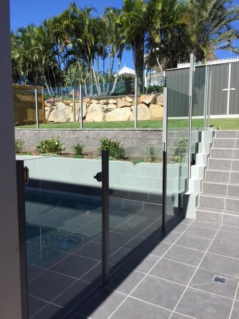 Stepped Semi Frameless Glass Pool Fence