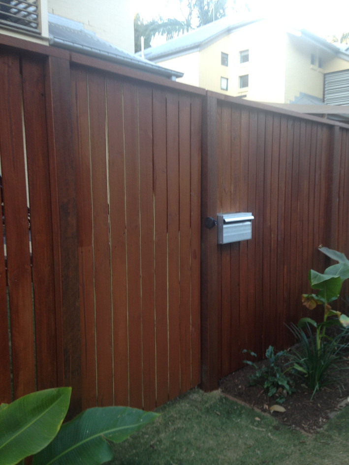 Capped & Stained Timber Gate with Letterbox