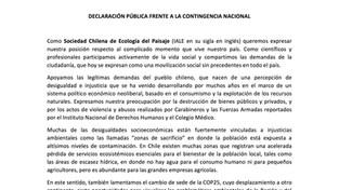 Declaración pública frente a la contingencia nacional
