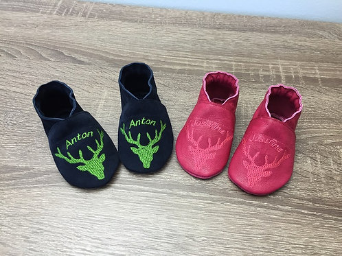 Babyschuhe Hirschgeweih mit Namen