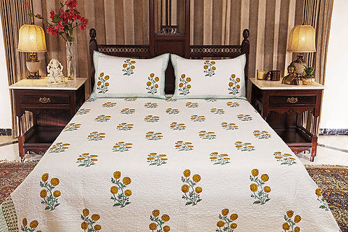 Chrysanthemum Quilted Bed Cover