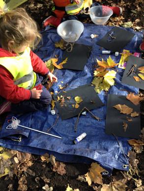 Taking part in natural art activities