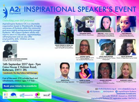INSPIRATIONAL SPEAKER'S EVENT 14TH SEPT 2017