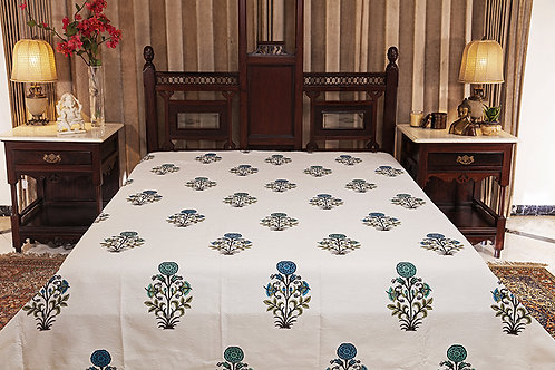 Blue Hydrangea Jacquard Bed Cover