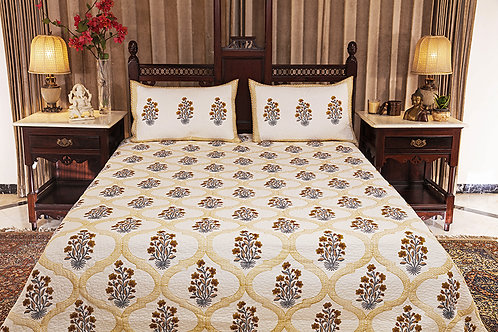 Yellow Trellis with Flowers Quilted Bed Cover