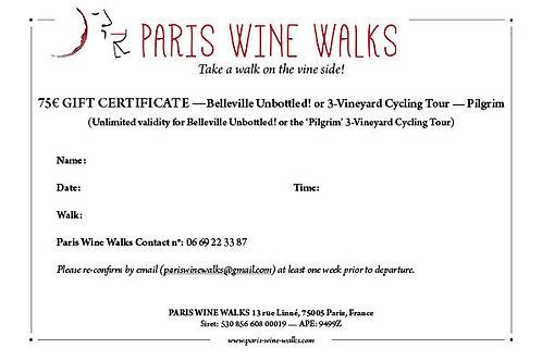 Chèque cadeau 75 € - Belleville déballé! ou vélo à 3 vignobles
