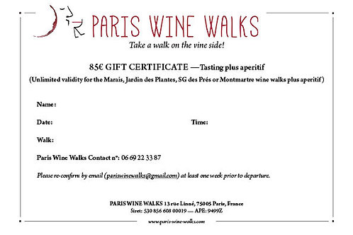 85€ Gift Certificate - Tasting plus aperitif