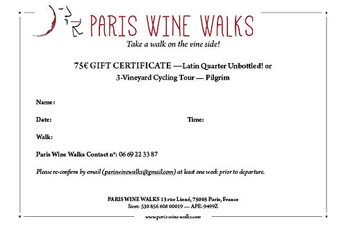 75€ Gift Certificate - Latin Quarter Unbottled! or 3-Vineyard Cycling