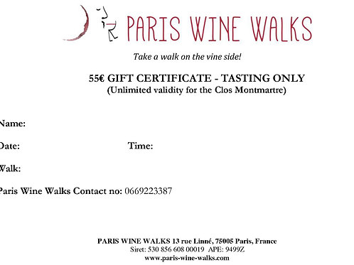 55€ Gift Certificate - Montmartre tasting only
