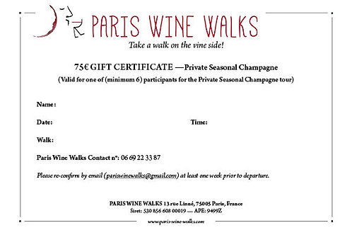 75€ Gift Certificate - Private Seasonal Champagne