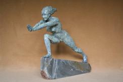 Standing Ground, patinated bronze resin, Cornish slate