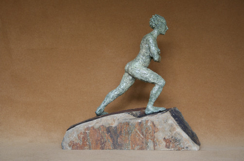 Assertion, patinated bronze resin, Cornish slate