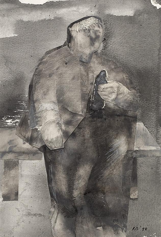 Drunken Man 1998. Watercolour collage in