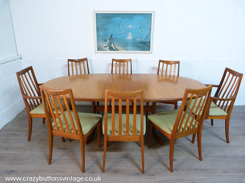 G plan fresco oval extending table eight chairs