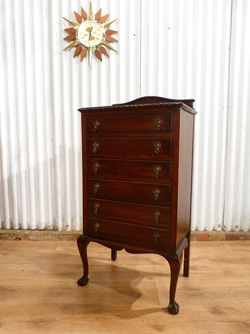 Mahogany slim music drop front chest of drawers / filing cabinet