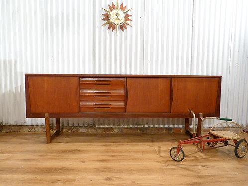 Amazing EON mid century long john teak sliding door sideboard sleigh legs