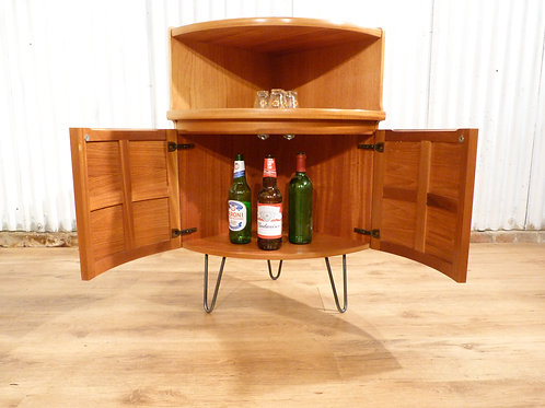 Nathan bow front teak drinks cocktail cabinet bedside industrial hairpin legs
