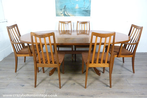 G Plan teak extending dining table 6 chairs 2 carvers
