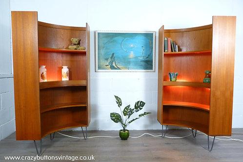 G Plan pair curved teak bookcases hairpin legs