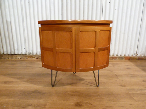 Nathan small bow corner unit drinks cabinet bedside industrial hairpin legs