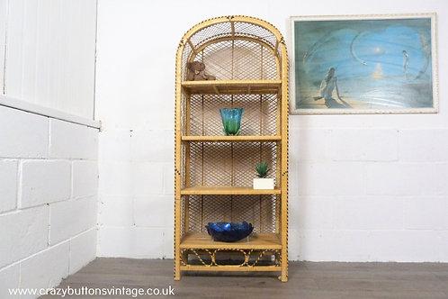 Retro wicker bamboo rattan boho peacock shelving bookcase display unit