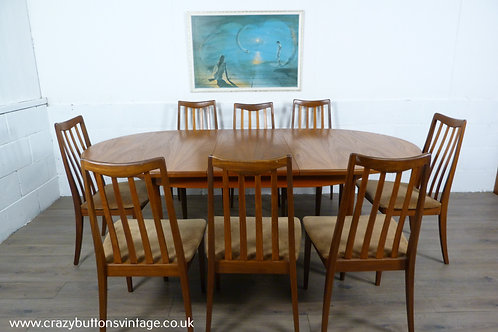 G Plan table and eight chairs