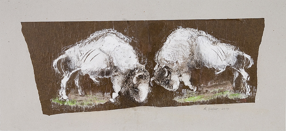 5. Fighting Bison. Sand chalk pigment ki